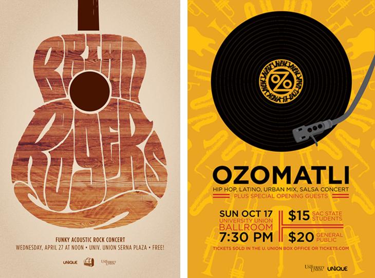 Brian Rogers gig poster, designed by Kyle Marks; Ozomatli concert poster, designed by Christine Jackson