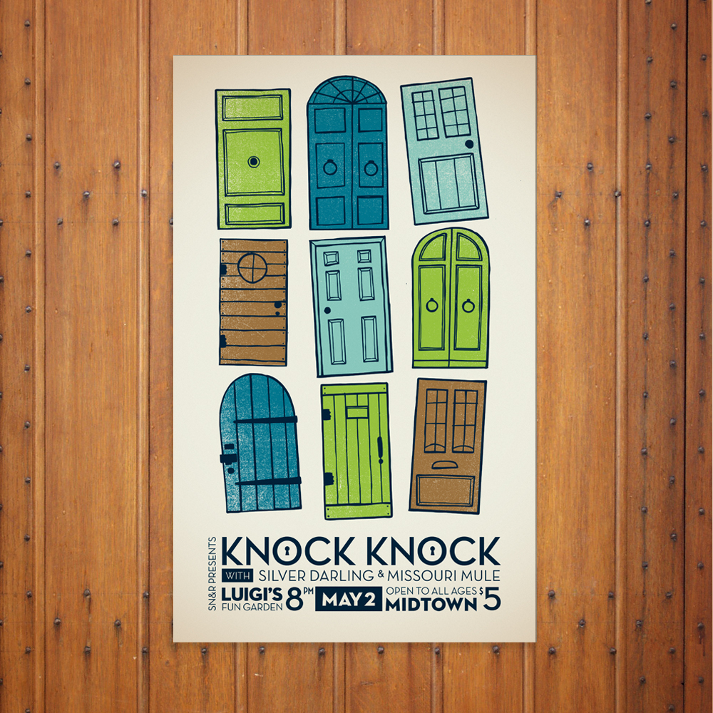 5-color screen-printed poster for an indie rock band. ​Click below for more images.