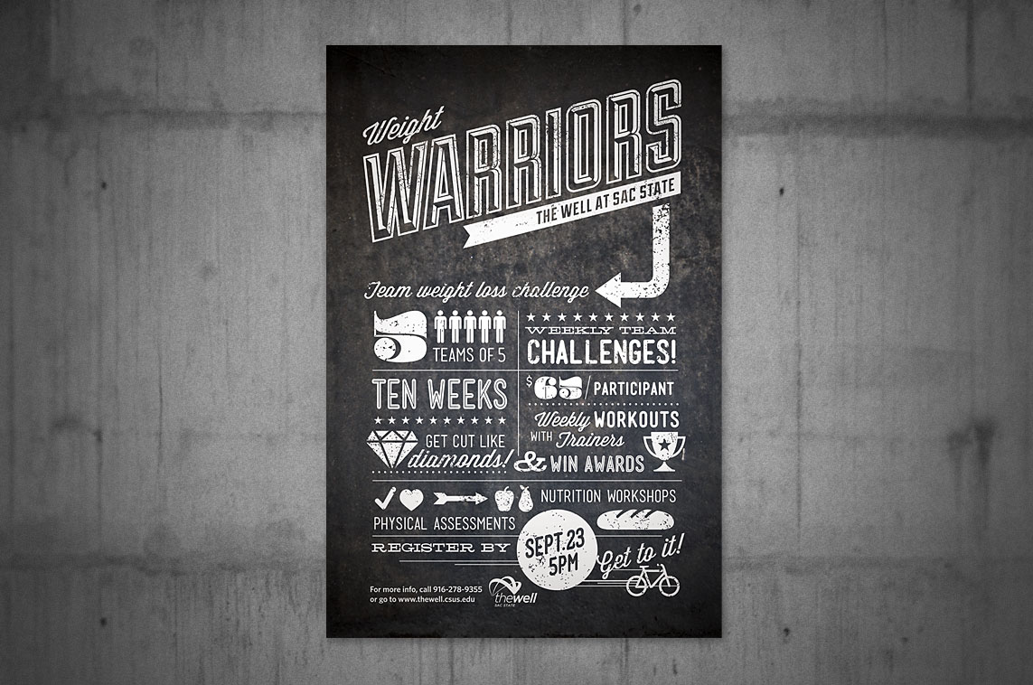 Poster for a team weight-loss challenge at Sacramento State. ​​​​​Click below for more images​.