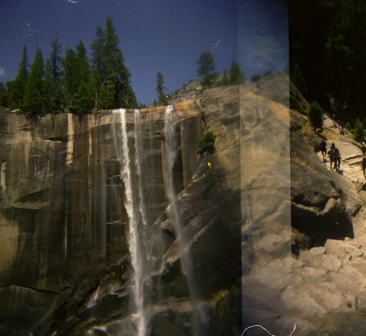 Vernal Falls, overlapping an image of the stairs leading up to it