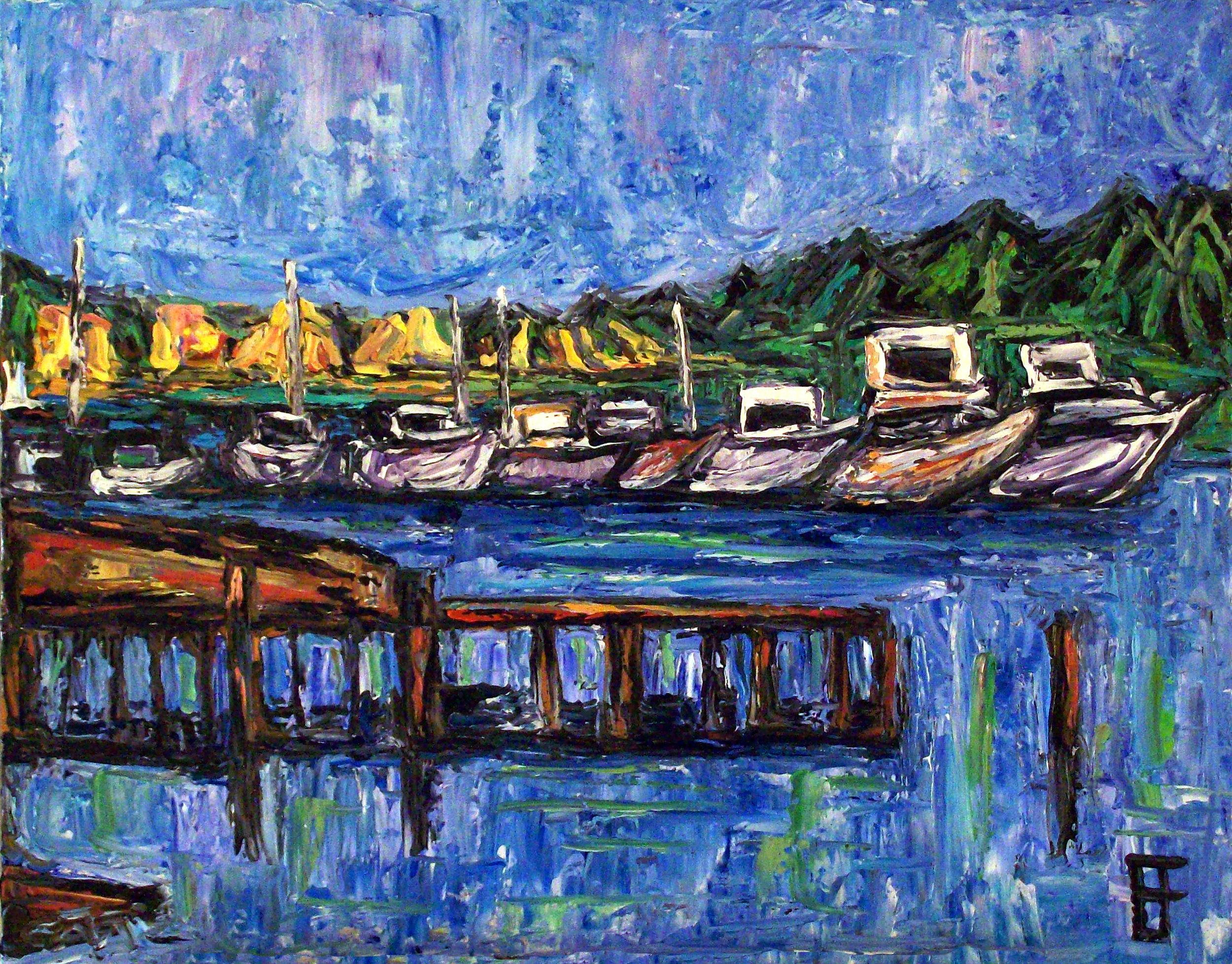 """""""Meydenbauer Bay Harbor, Bellevue, WA."""" Oil on canvas."""