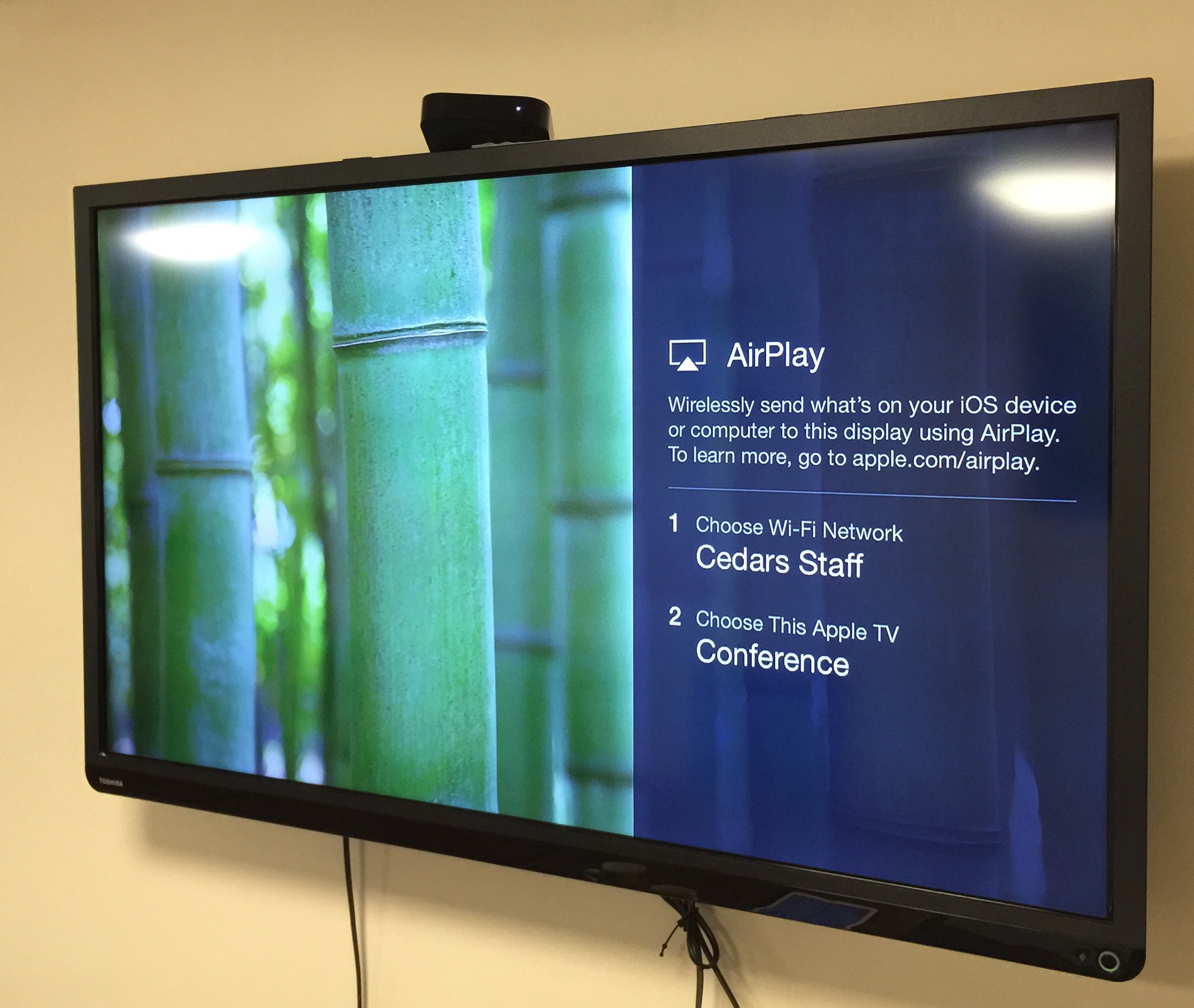 The result: an Apple TV that boots into Conference Room mode.