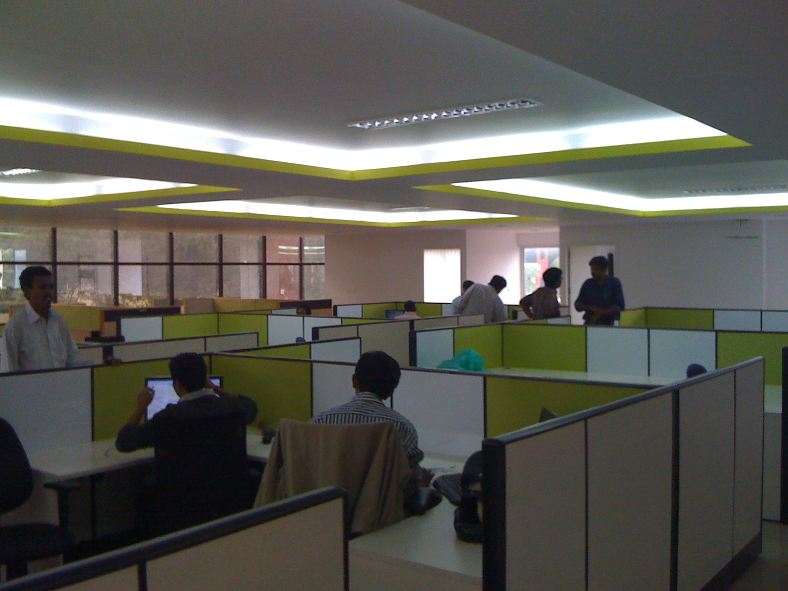 Here is a quick snap from my iPhone of the new GreenPrint office in Bangalore. Check out the awesome colour scheme and lighting.