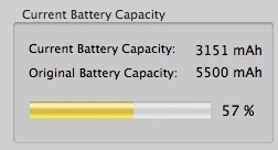 Thanks to the very handy  coconut battery , I now know that my original macbook pro battery is only 57% of the original capacity. Not pretty after just 14 months of use.