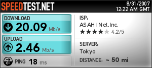 The internet in my hotel room is 20mbps, nice!