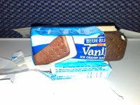 I have jsut been served this ice cream bar on a Northwest Airlines flight to Tokyo. It is a very strong candidate for the blandest food in the universe. There are no flavours present at all, you can only distinguish between the biscuit and the ice cream because one is cold and one is slightly crunchy. This foodstuff is an insult to the evolutionary wonder that is the taste bud. By the looks of the numbers of uninshed one littering the cabin I am not alone in my opinon.