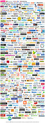 LOGO2.0 part I and II    Originally uploaded by  Stabilo Boss .  Here is an awesome image compiling hundreds of logos from web 2.0 companies. Some great work in there, take a look and if you have some favourites let me know.  It's been around the blogosphere a hundred times, but as I am currently designing a logotype for our software startup it is proving fairly inspirational.  There is actually a nice breakdown and discussion of the typefaces used over at  fontshop.com