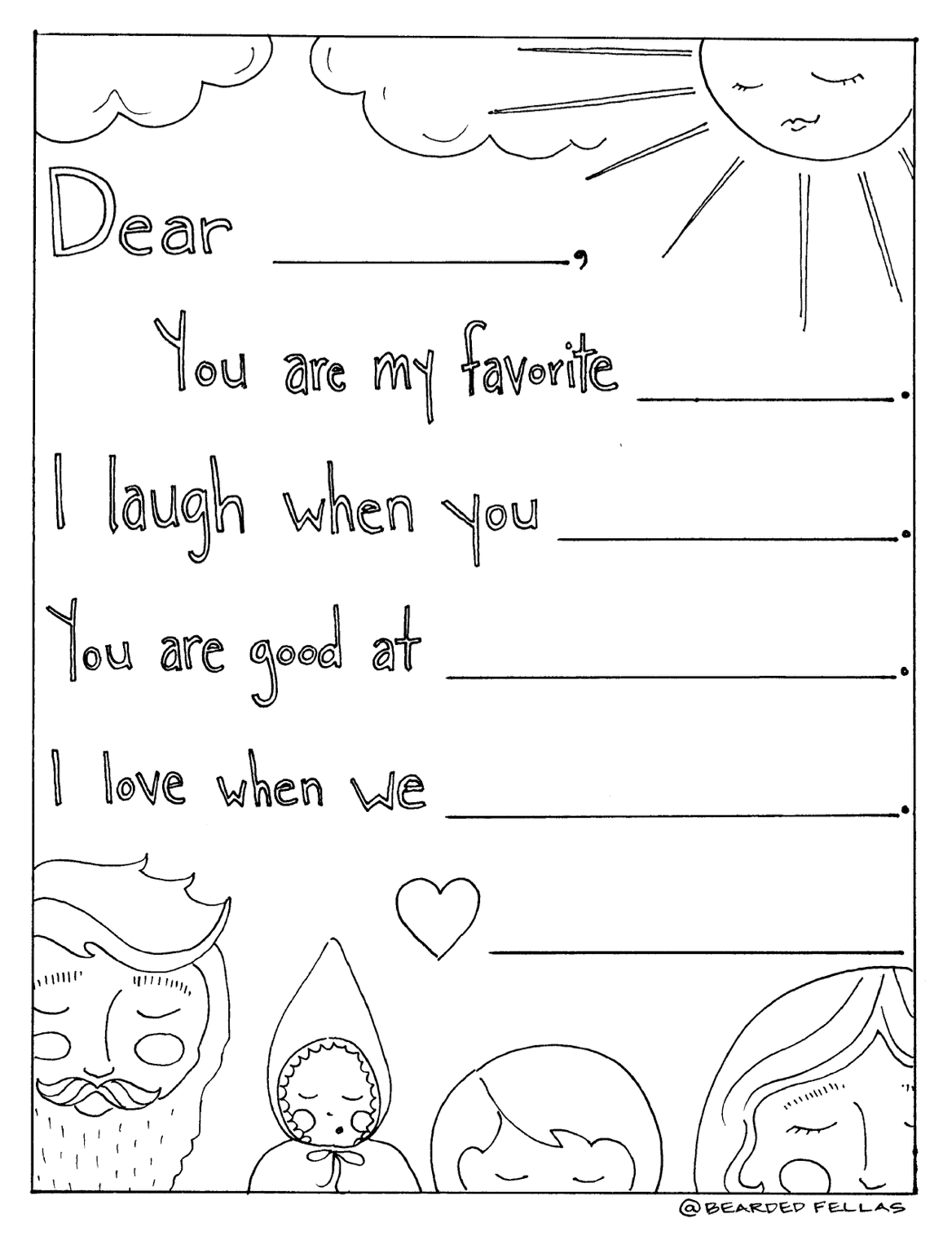 Father's Day Letter Coloring Page