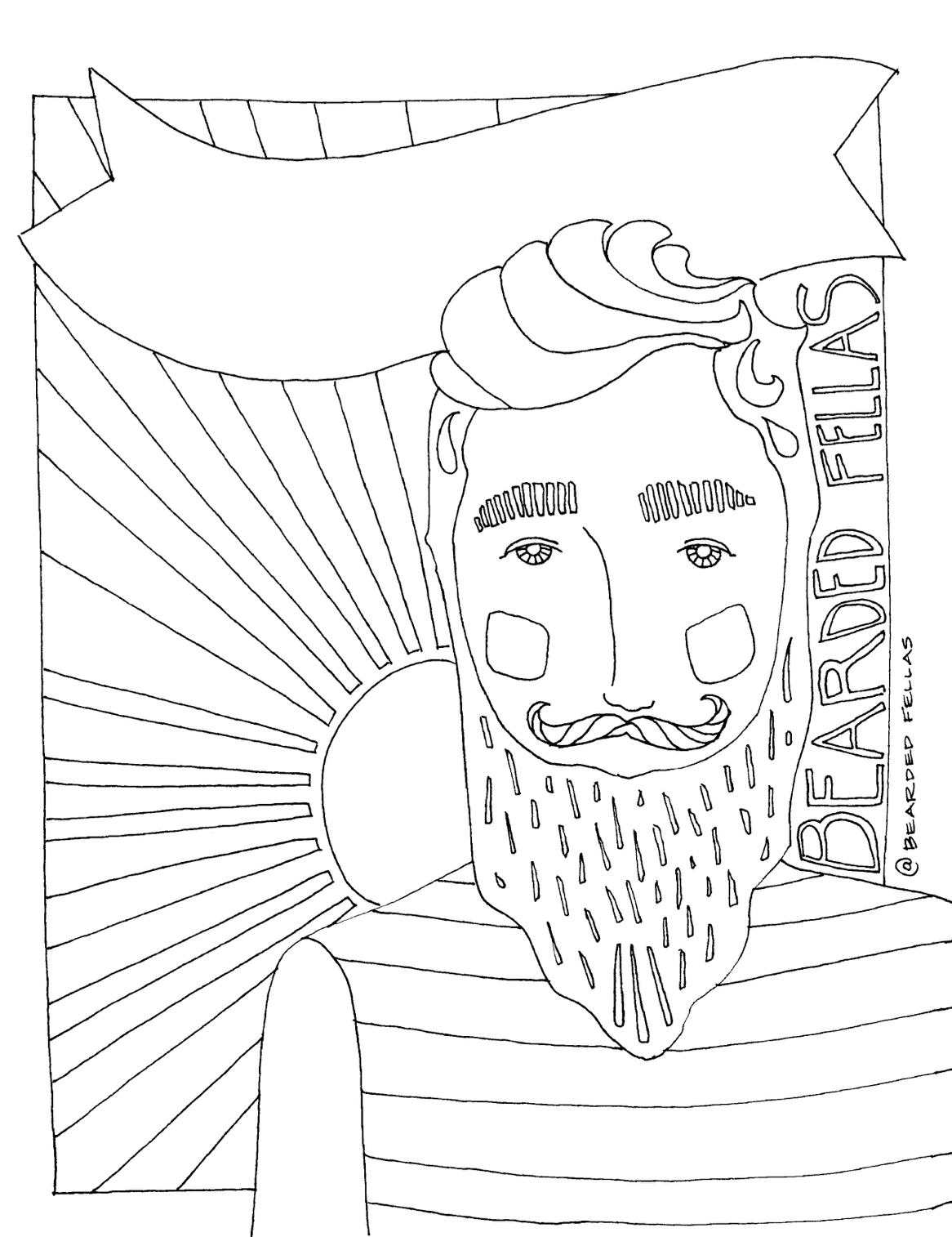 Bearded Fella with Sun Burst Coloring Page