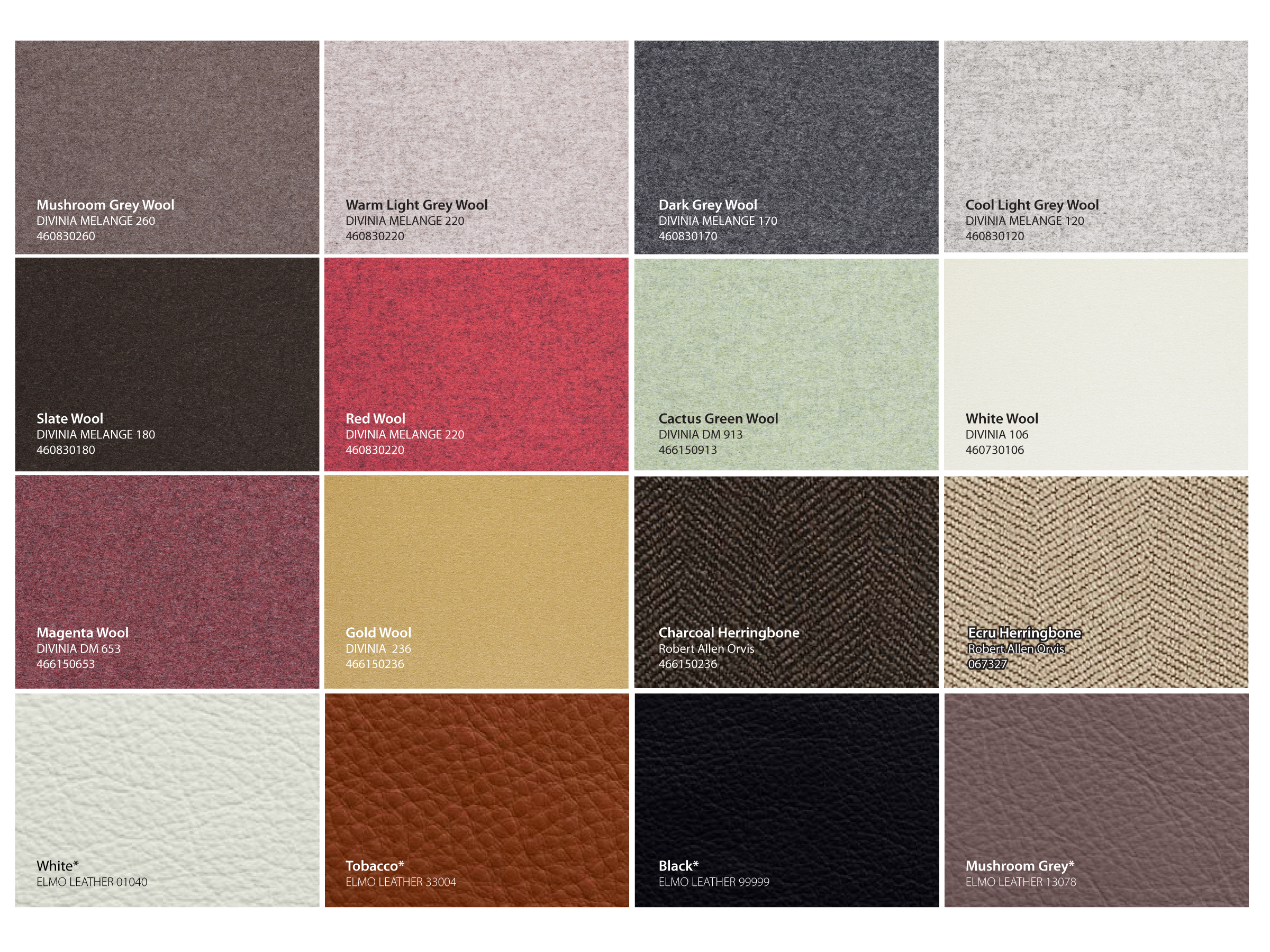 Upholstery Options   *additional fee for leather