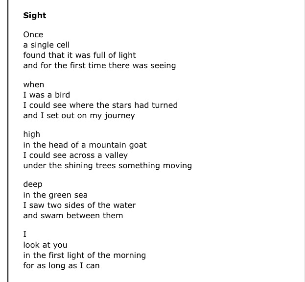 """Sight"" by W.S. Merwin"