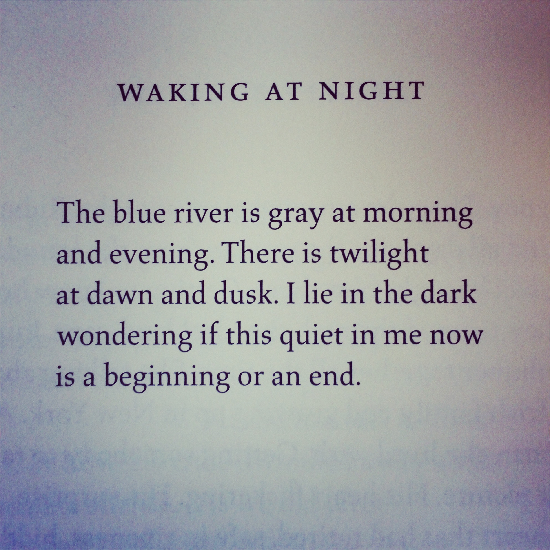 """Waking at Night"" by Jack Gilbert"