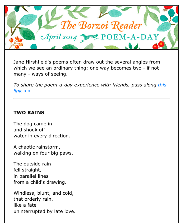 """Two Rains"" by Jane Hirshfield"