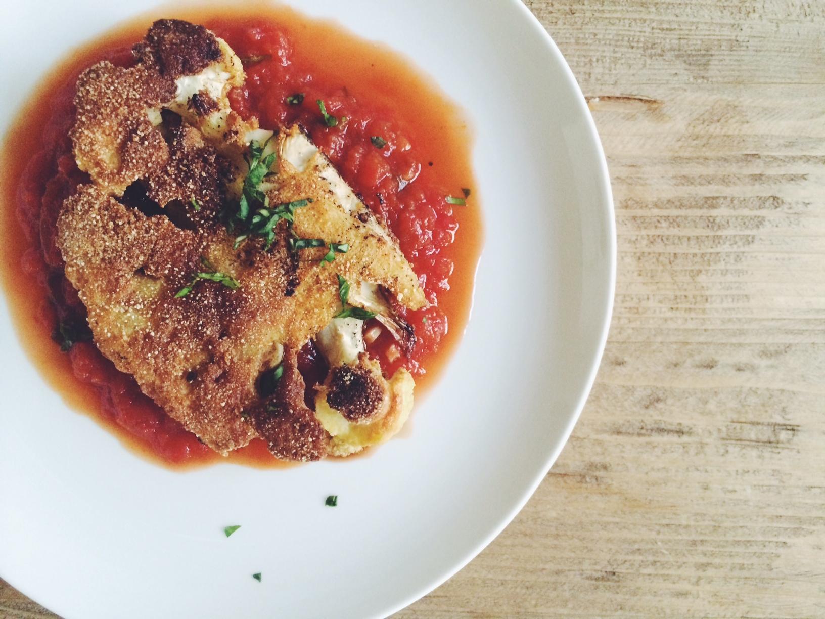 Quinoa-Flour Roasted Cauliflower Steaks with Tomato Sauce