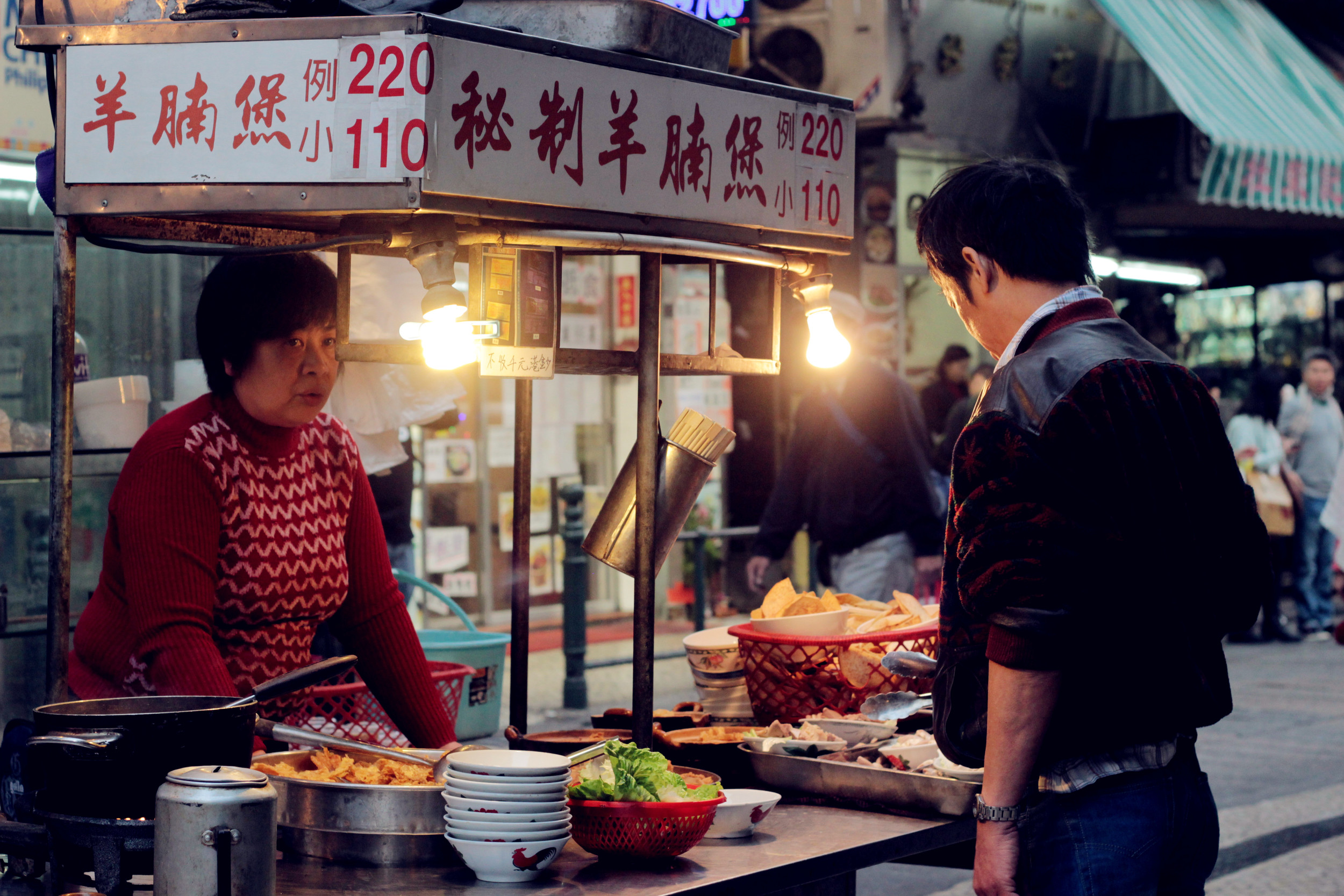 Street food vendor in  Macau, China . Photo by  Duo Chen.