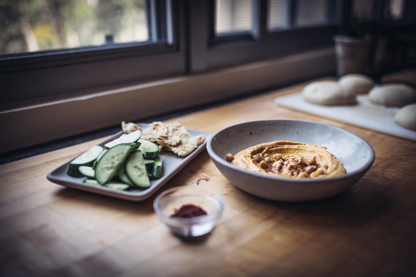 Sweet Potato Hummus with Garlic and Sumac Flatbread