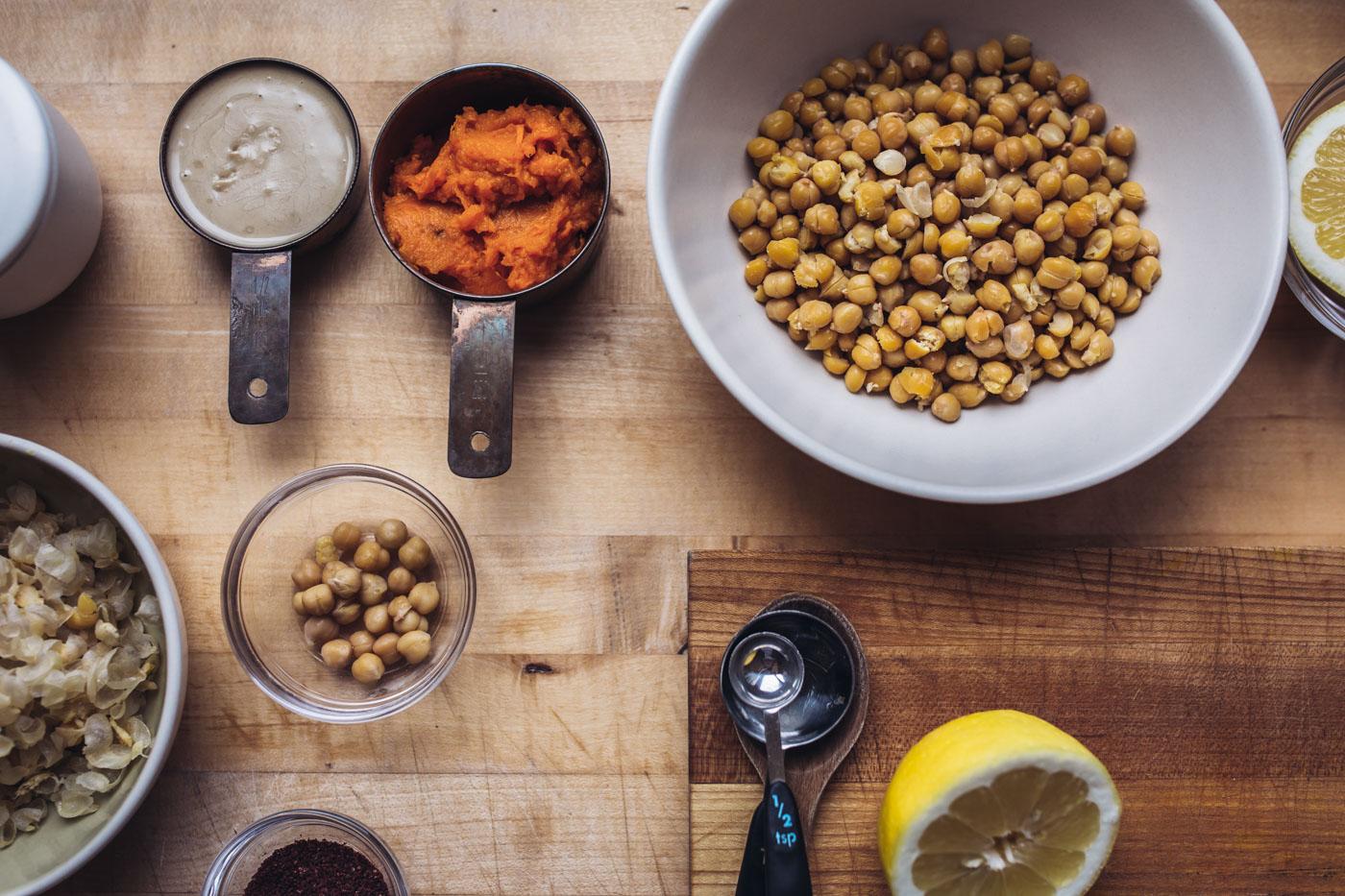 Ingredients for sweet potato hummus