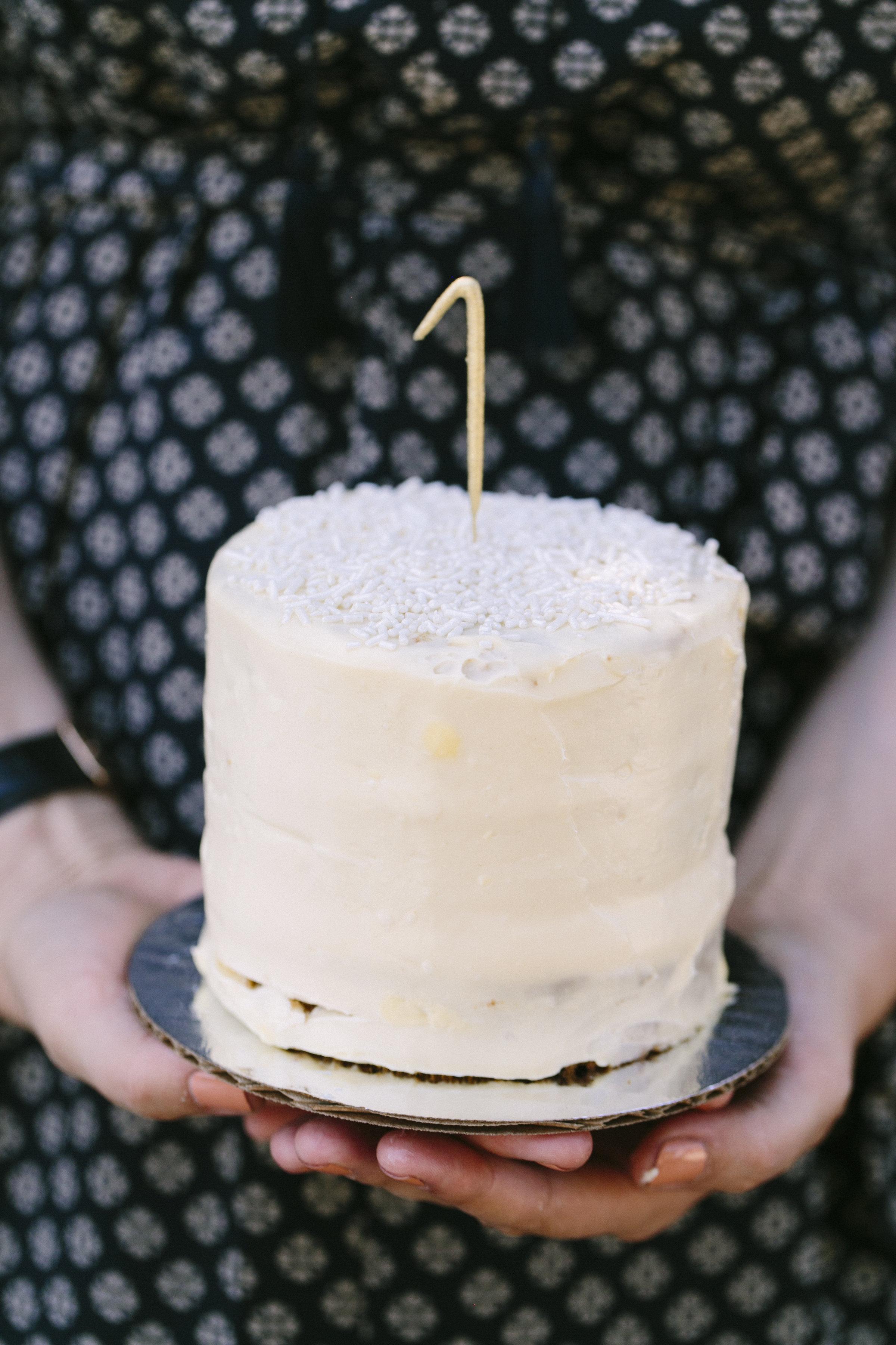 First birthday cake with mashed banana, orange juice, and maple