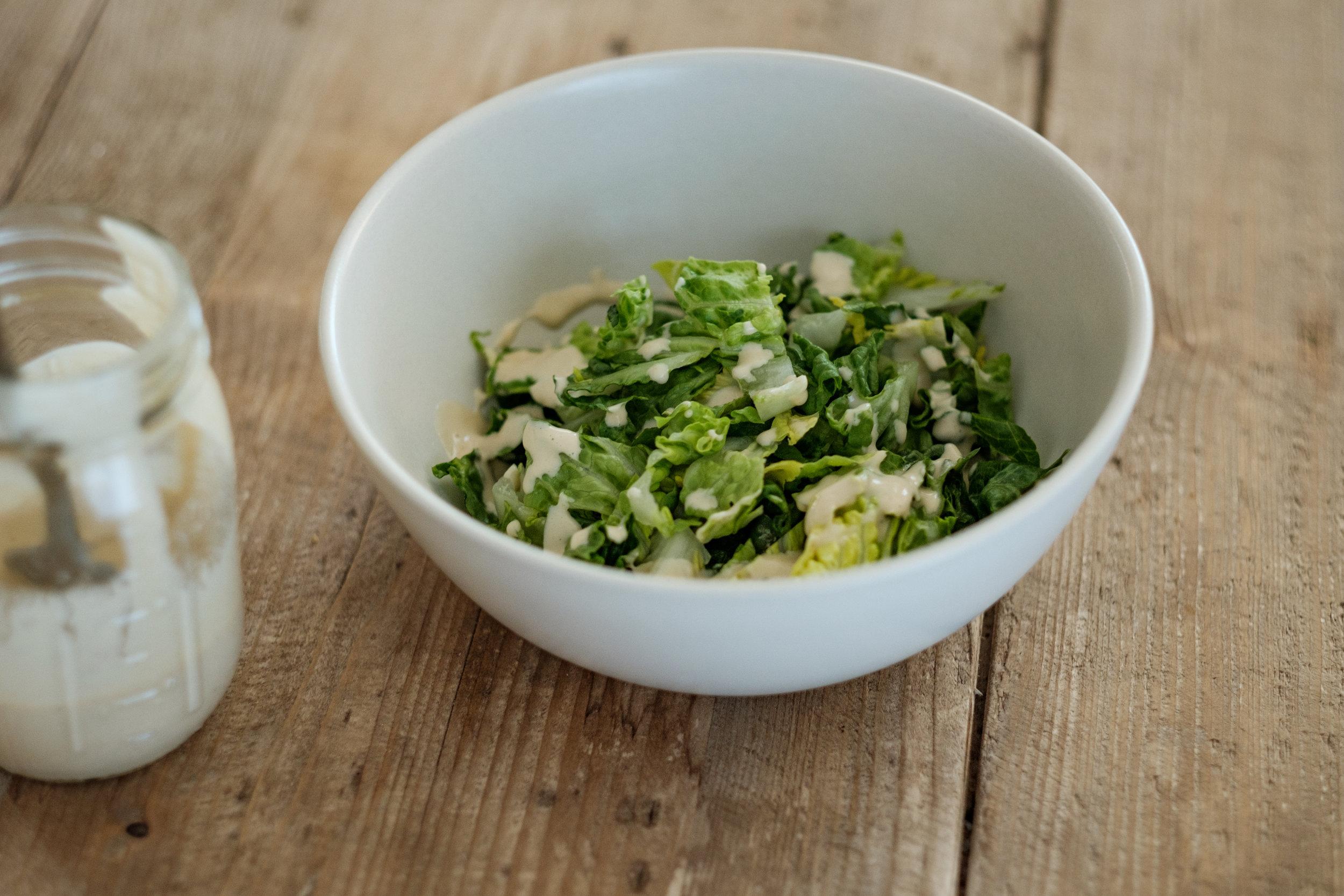 Little Gem Salad With Creamy Garlic Dressing