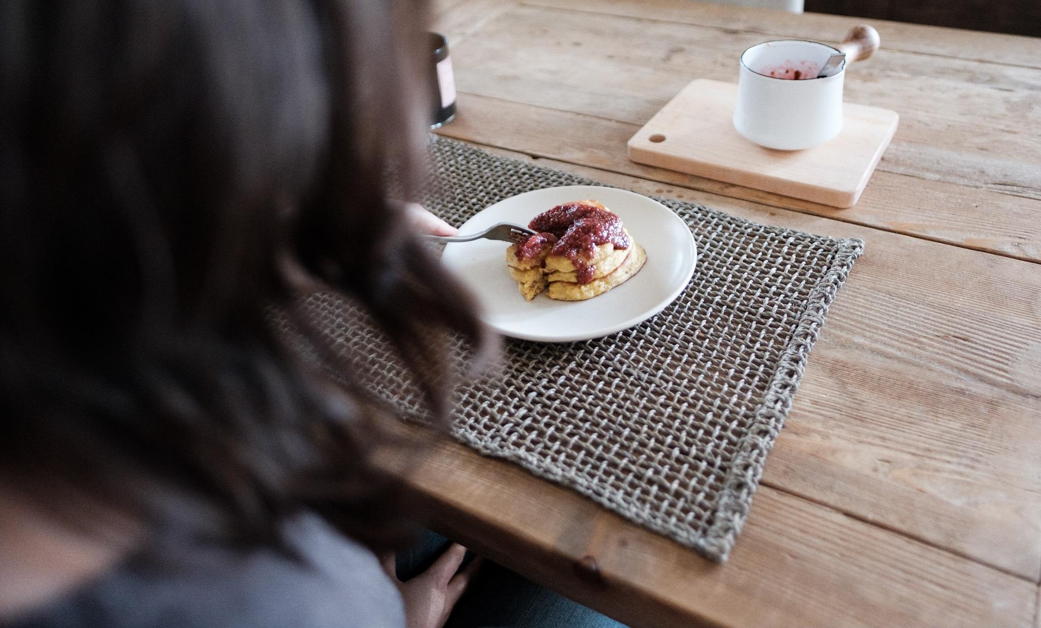Cornmeal Pancakes With Strawberry Chia Jam