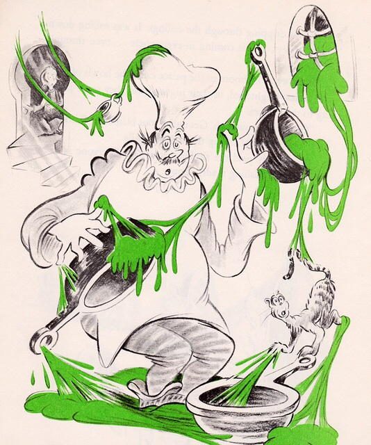 from Dr. Seuss's  Bartholomew and the Oobleck , one of the most horrifying books I read as a child.  Here's a link to Powell's listing, if you want to inflict it on your own kids.