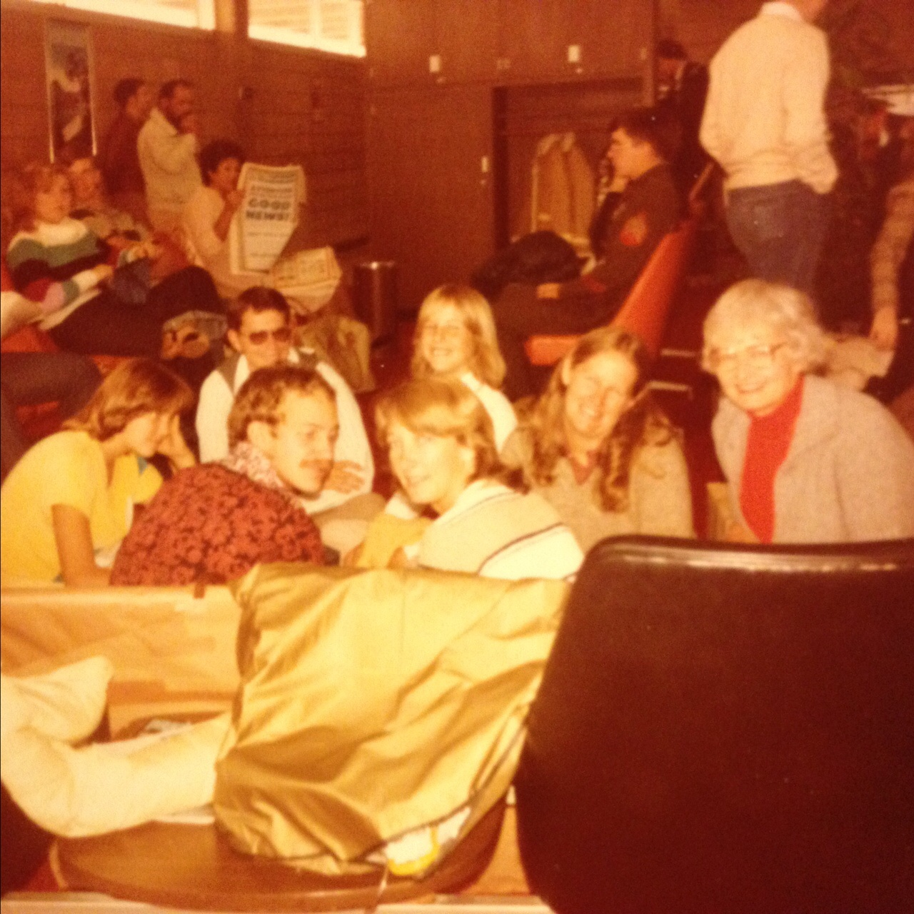 Of course, the center of the world rarely shows up in pictures, but here's a rare sighting. Mom and Gramma are rightmost. San Diego airport, 1980, waiting for the plane that will take us away from our sun-kissed coast to Pittsburgh, PA.