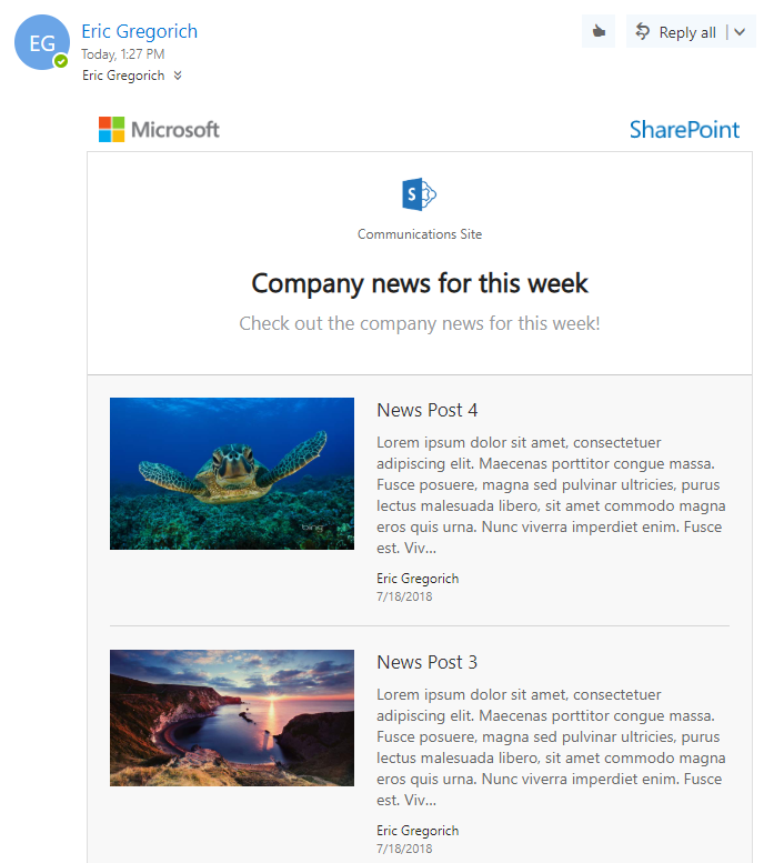 SharePoint Online Newsletter Digest Email