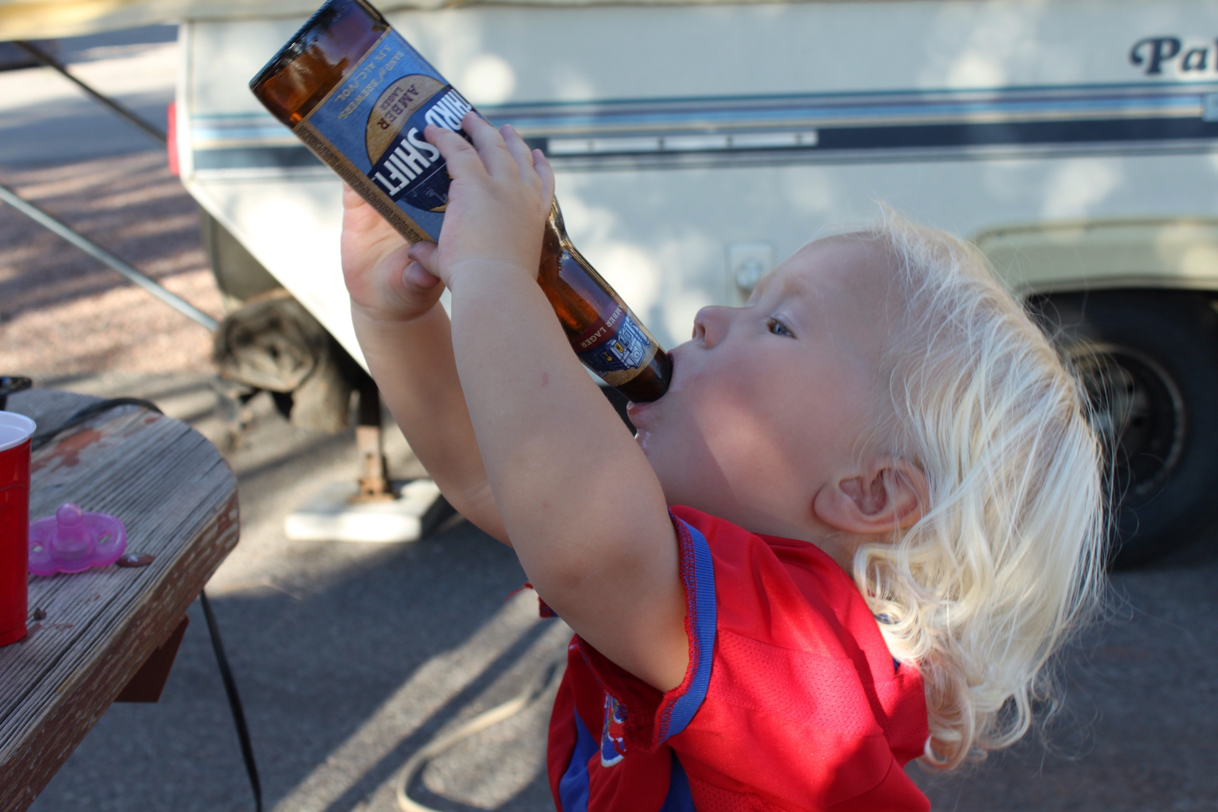 """With apologies to the inlaws... it isn't a """"Van Dyk"""" camping trip until the baby finds a beer bottle."""