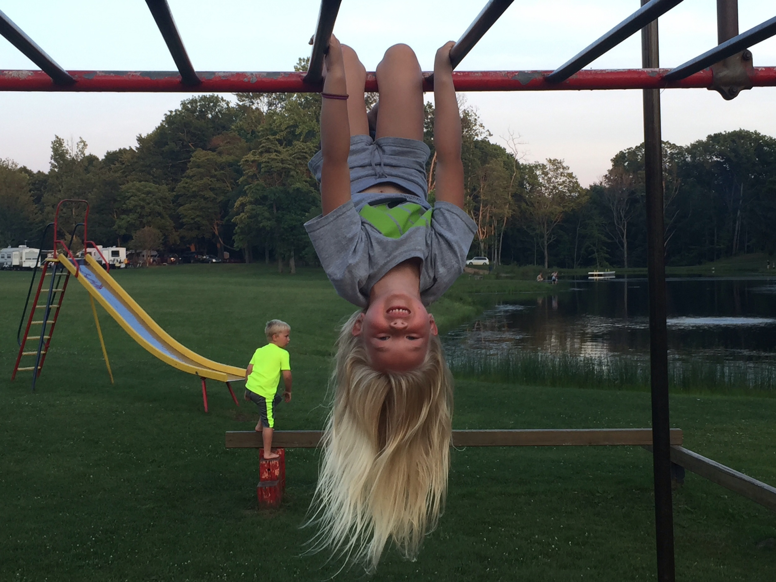 If nothing else, I've managed to teach her how to use monkey bars appropriately.