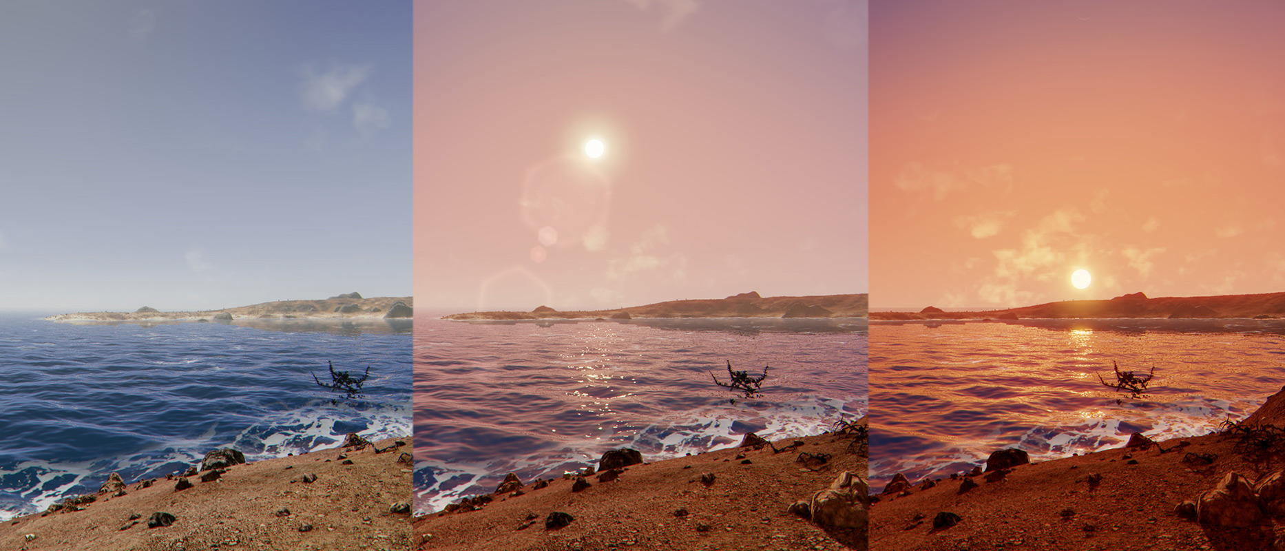 These are some examples of non-real-time photos taken from the game Extrasolar. Click to see the full resolution.
