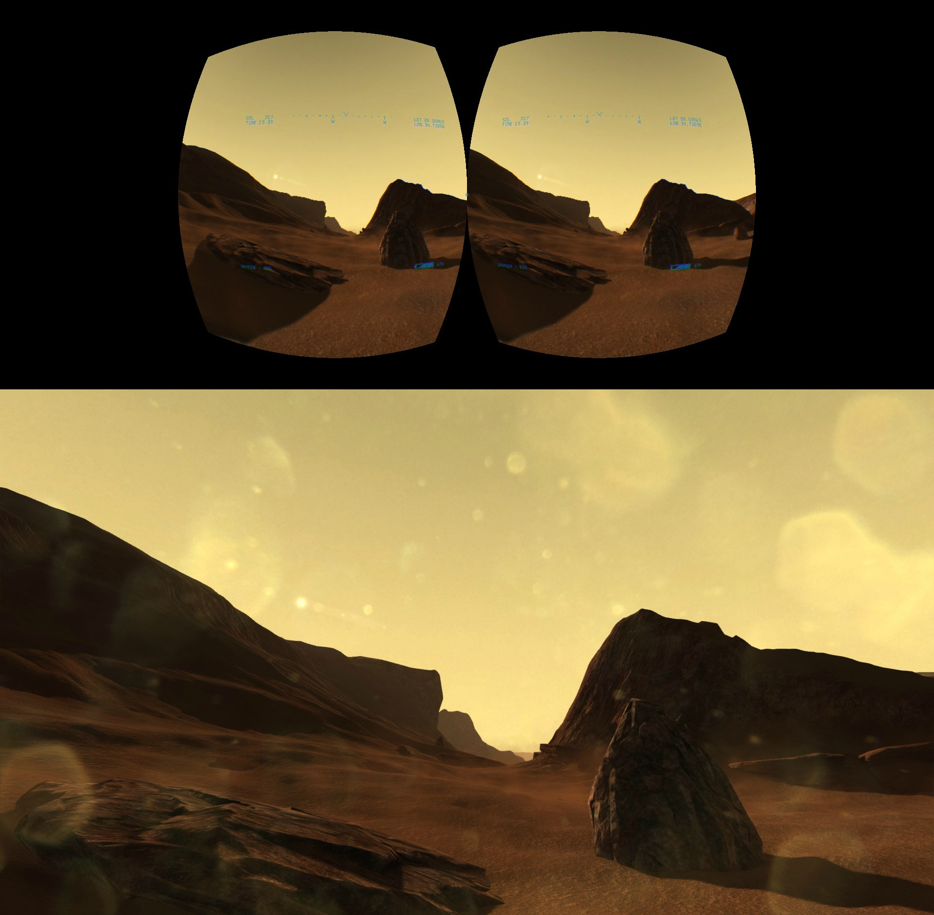 Top image is the view from the Rift cameras. Bottom image is the photo taken from that view. Click to see full resolution.