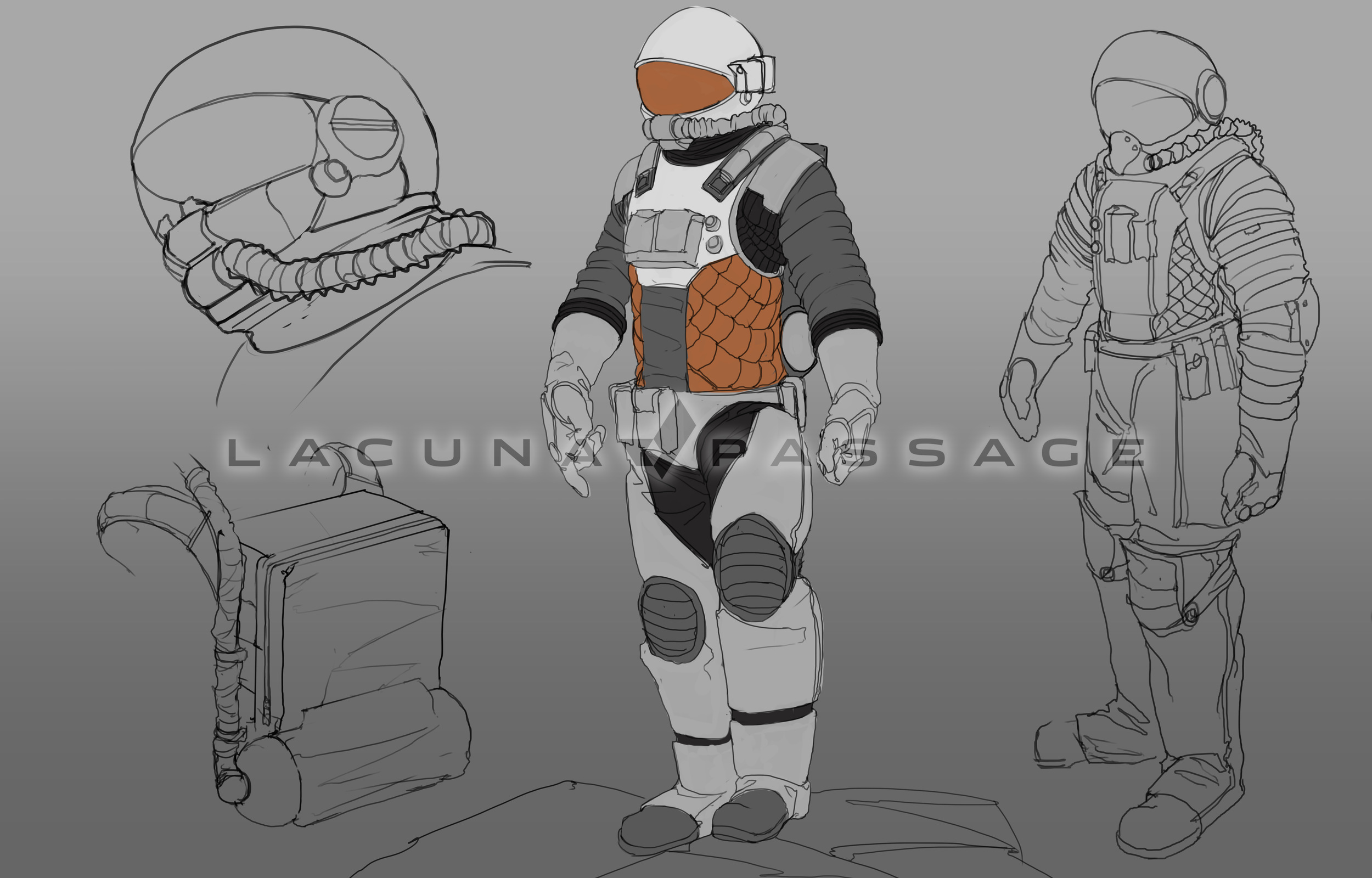 These designs are closer to the final suit that will be featured in the game. Click to enlarge
