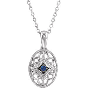 Genuine Sapphire Necklace, sterling silver, style #69715 $75.00