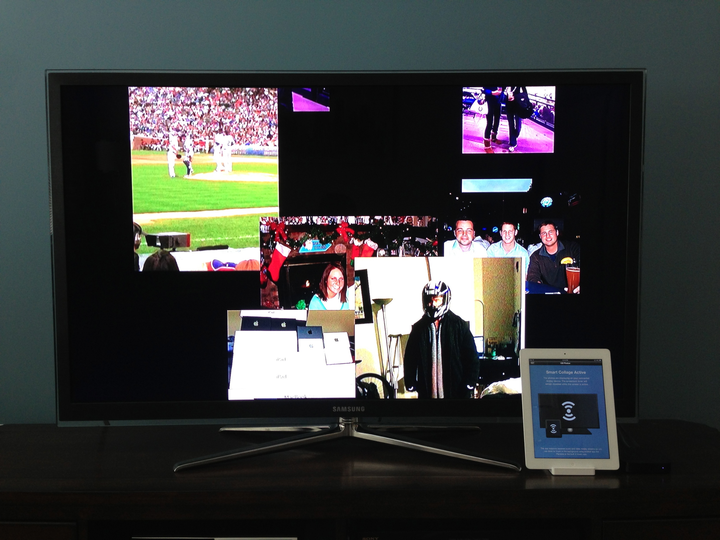 Facebook photos displaying on a connected Airplay display.