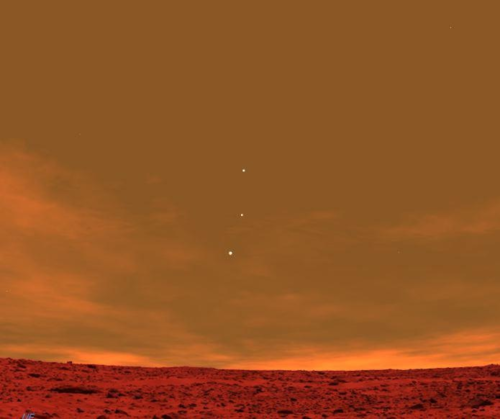 Earth, Venus and Jupiter as seen from Mars.