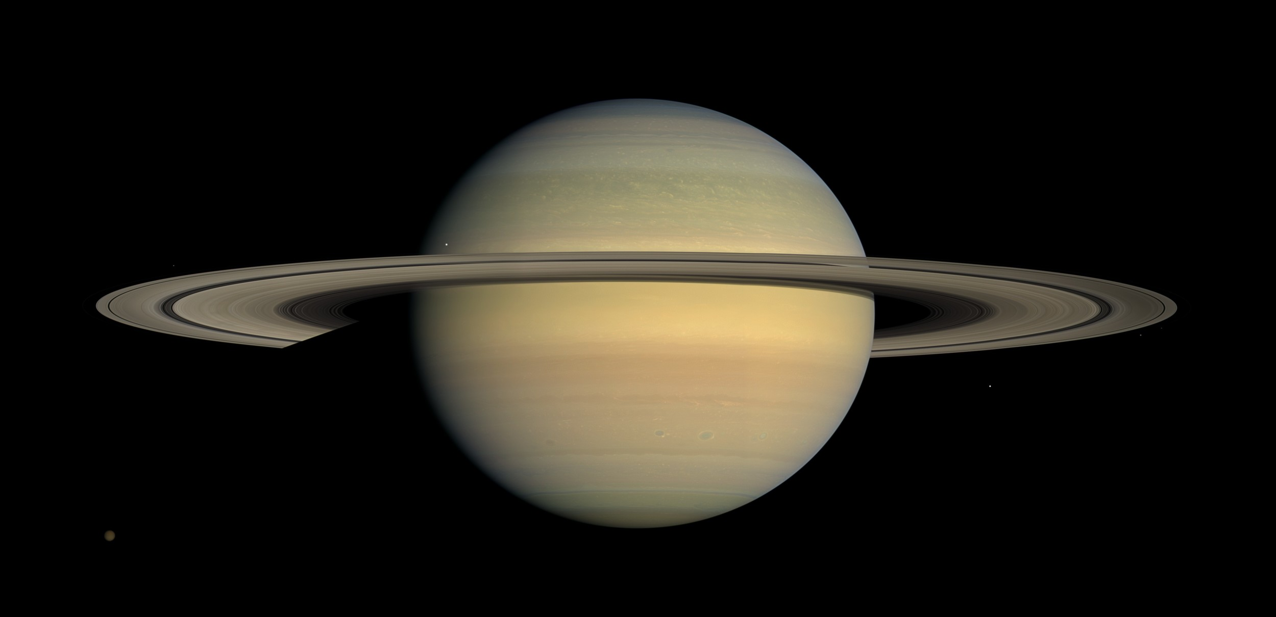 When view through a telescope on Earth, Saturn appears as it was over an hour ago.