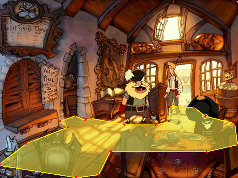 A guess at how a game like Monkey Island 3 could work