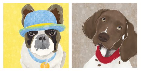 """The french bulldog to the left is designed from a photo of """"Franklin"""" who belongs to a family friend. The german shorthaired pointer on the right is designed from our own puppy Eli."""