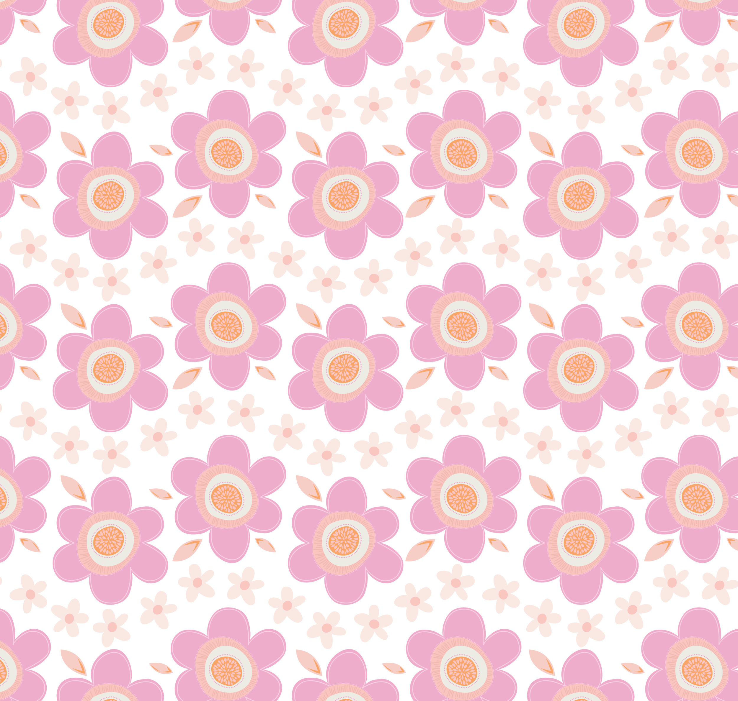 Fresh Flowers Pattern With Leaves