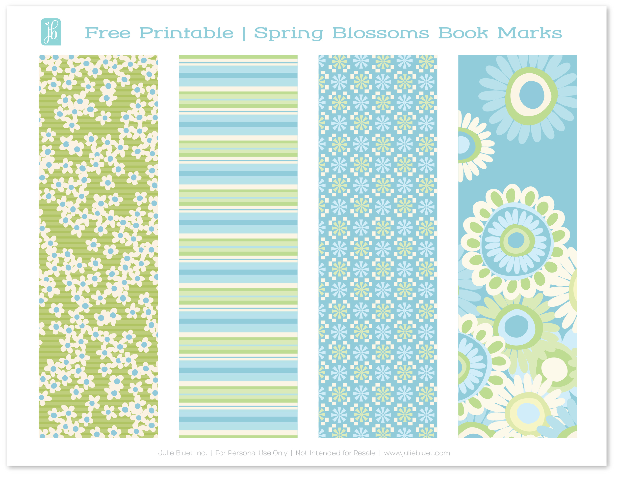 picture relating to Free Printable Bookmarks identified as Free of charge Printable: Bookmarks for Spring Julie Bluet