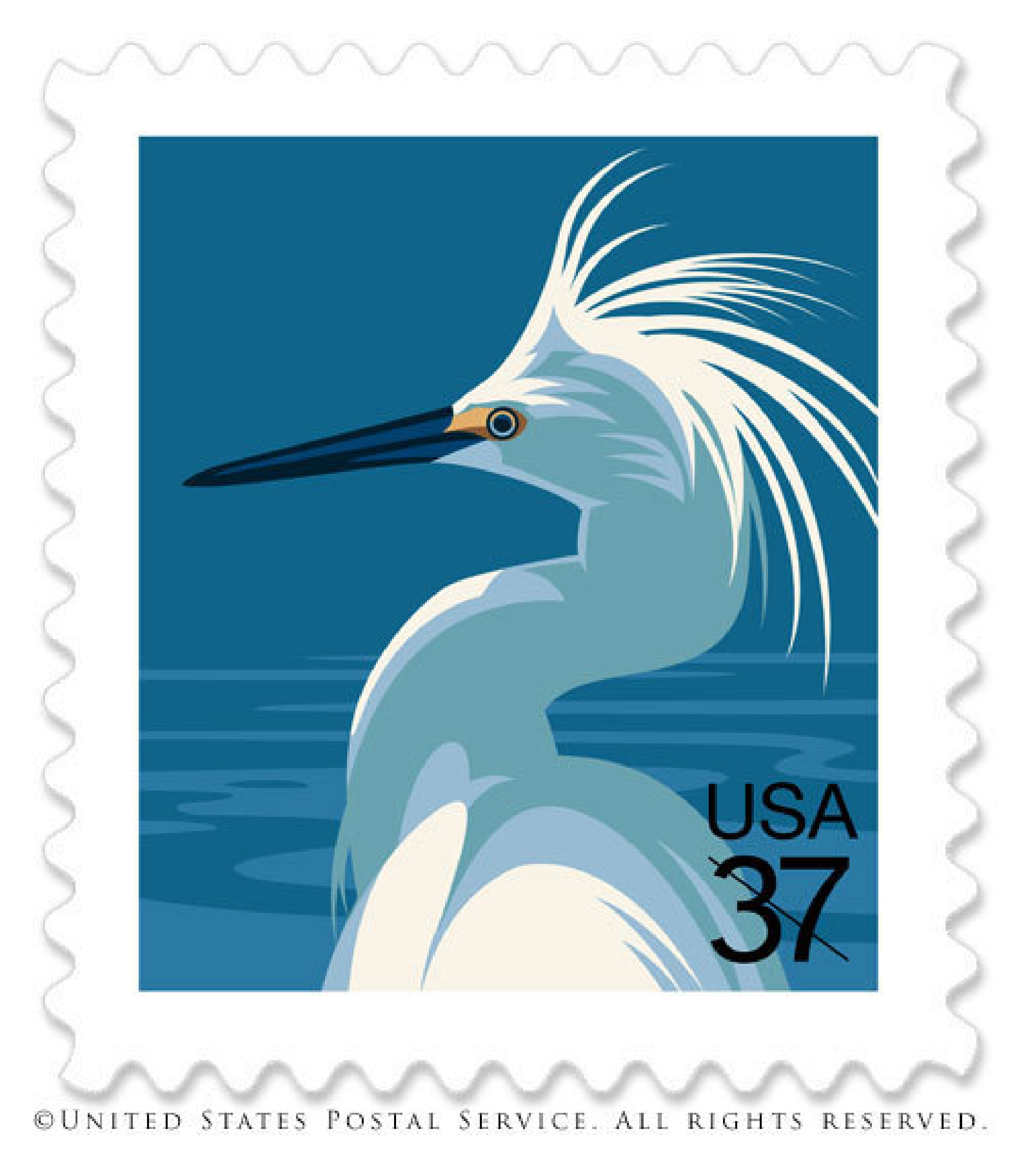US Postage Stamp Crane by Nancy Stahl