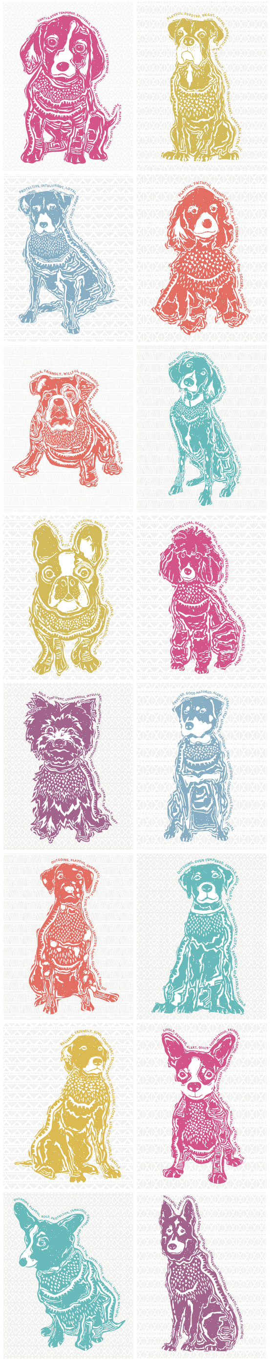 Linocut Dog Art Prints