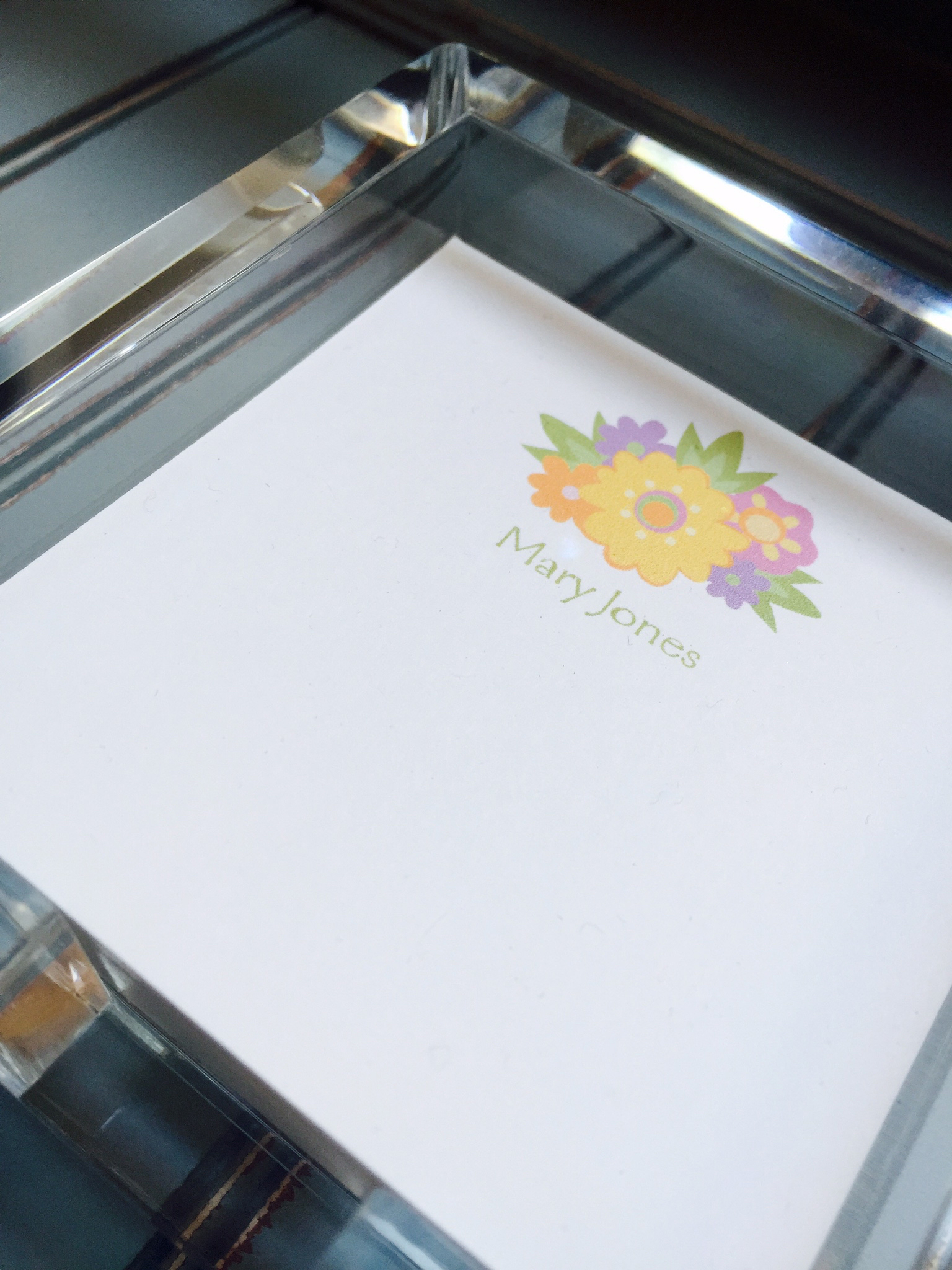 Personalized Acrylic Memo Note Pad Set