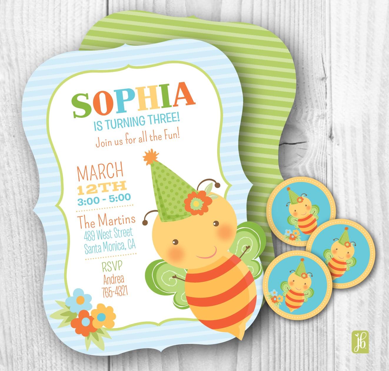 Birthday Bumblebee Invitations