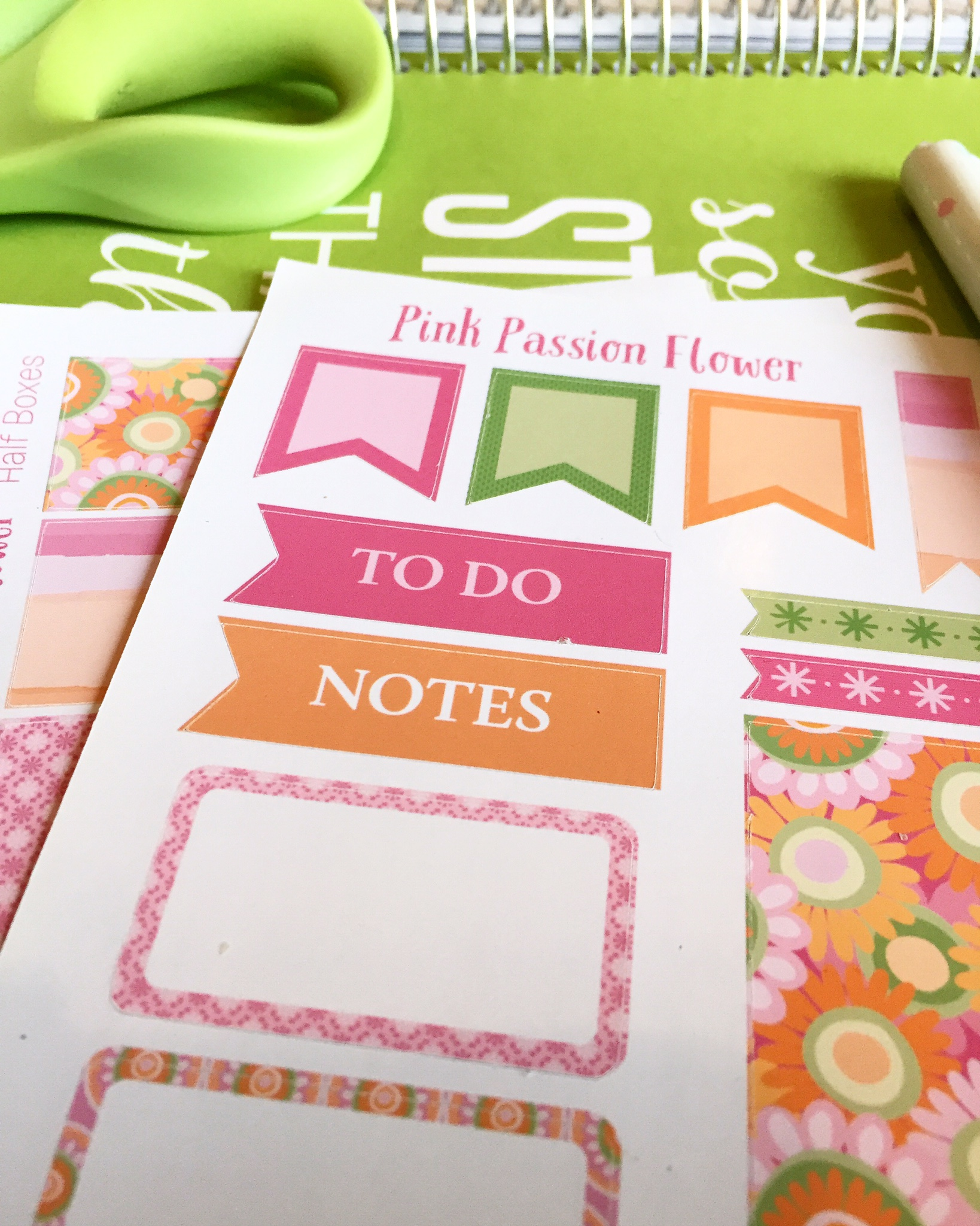 Pink Passion Flower Stickers