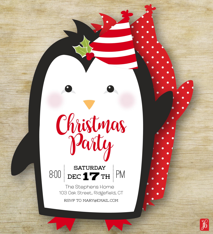 Christmas Penguin Invitation