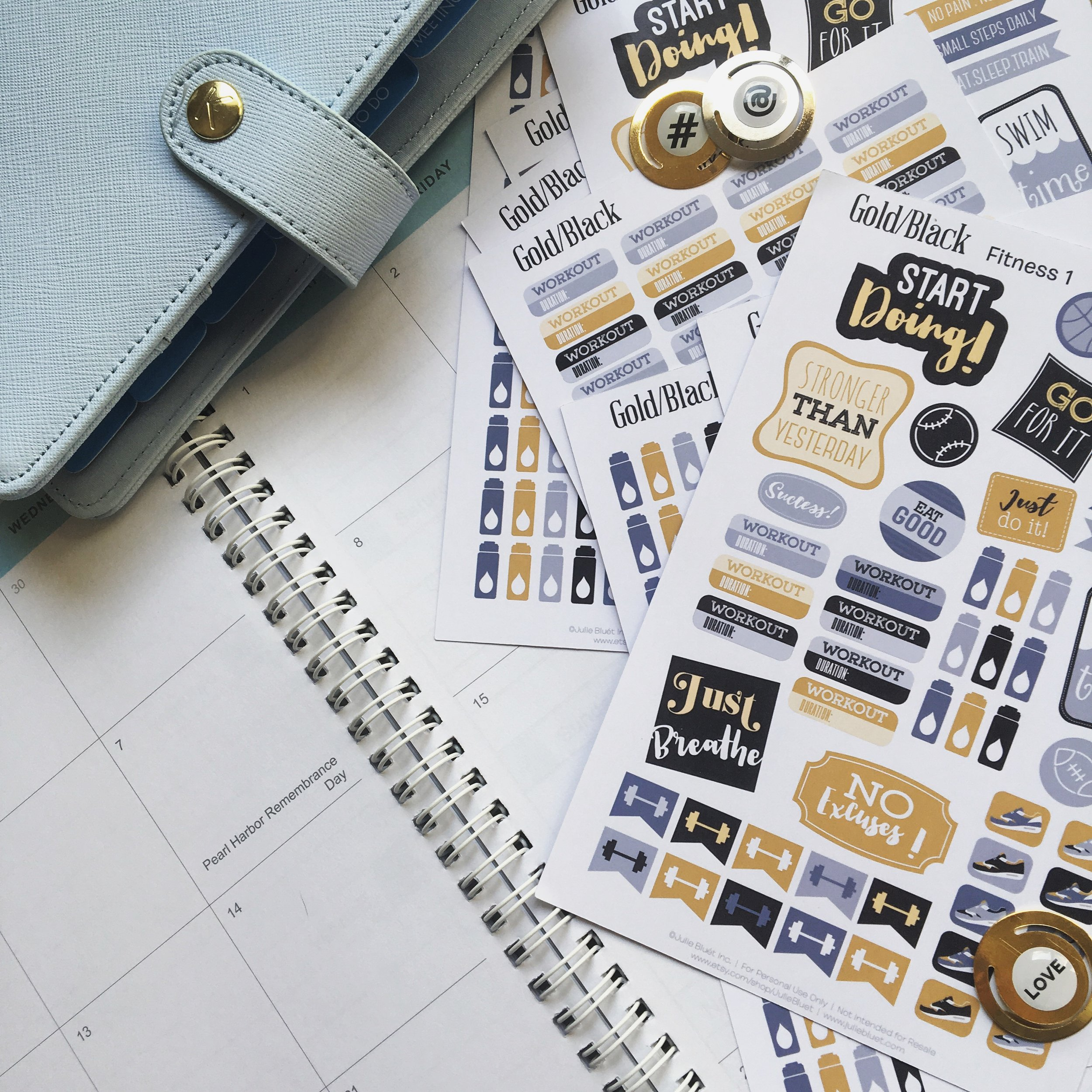 Black and Gold Fitness Stickers