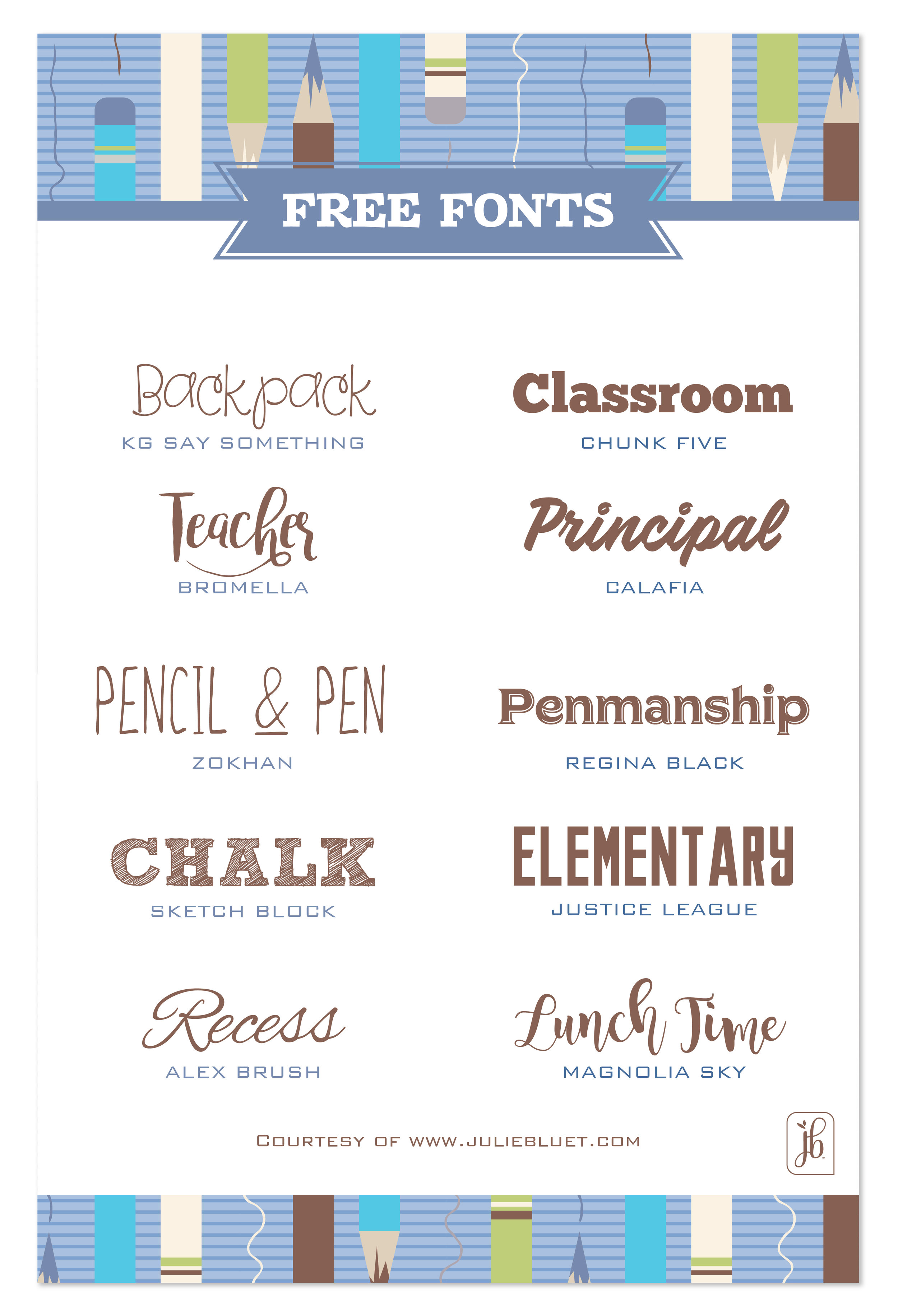 Free Back to School Fonts — Julie Bluet | Designer Stationery and Gifts