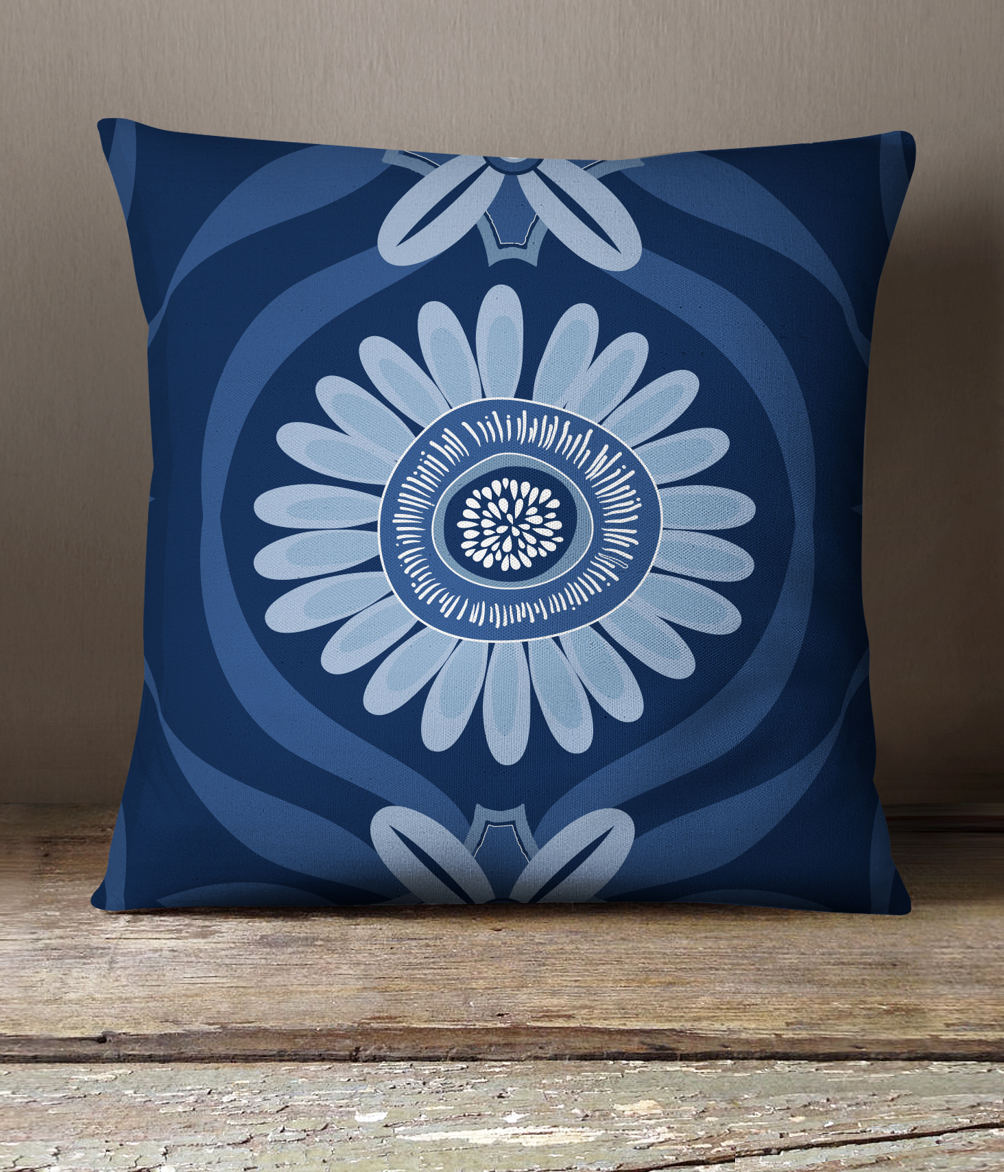 Navy Daisy Pillow