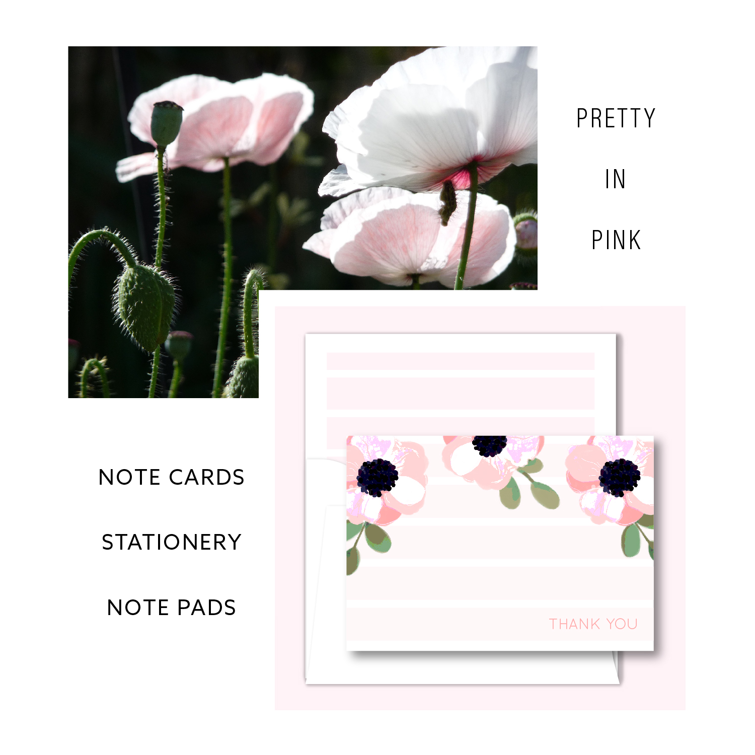Three Poppies Stationery